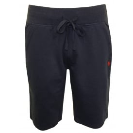 Luxe Brushed Jersey Jogging Shorts, Navy with Red Polo Player