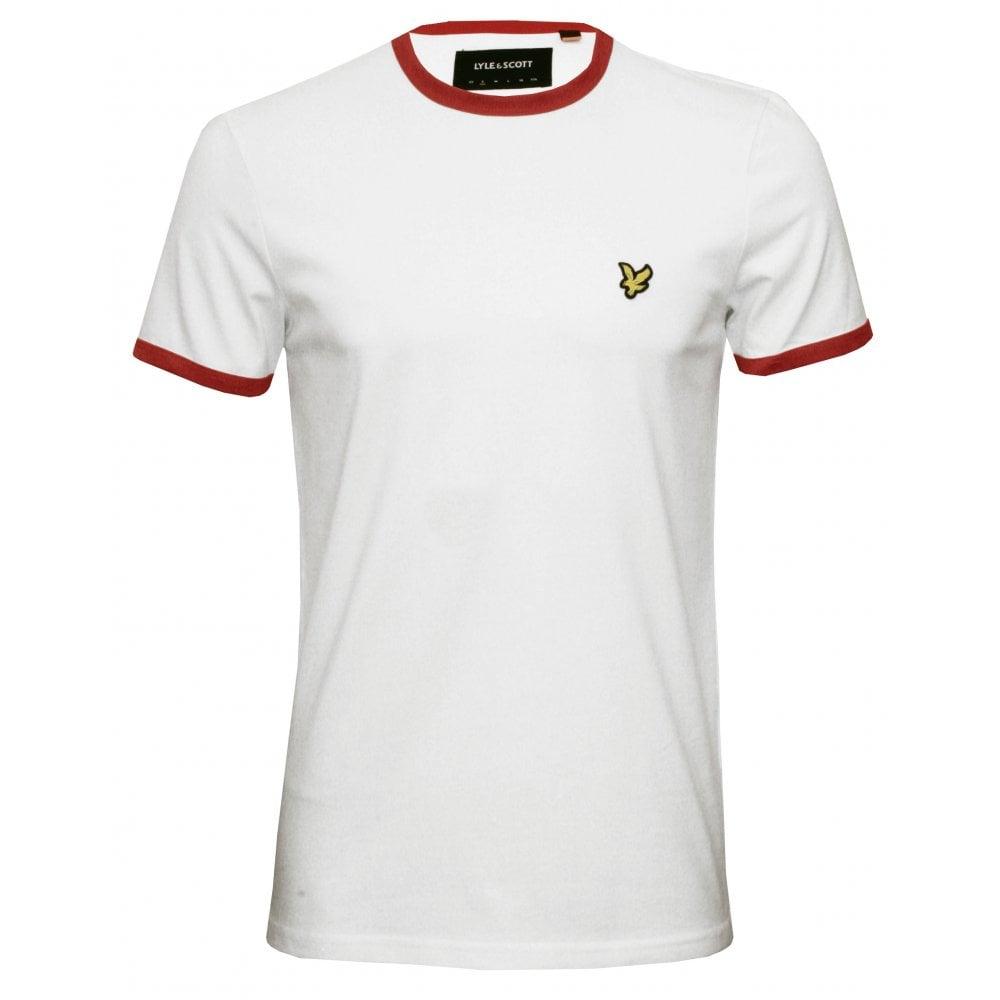 ea70885a Lyle & Scott Classic Crew-Neck England T-Shirt, White/red | UnderU