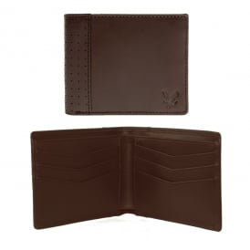 Classic Vintage Perforated Leather Wallet, Dark Brown