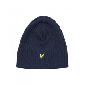 Ribbed Lambswool Beanie Hat, New Navy