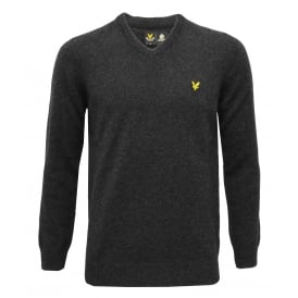 V-Neck Lambswool Jumper, Charcoal Marl