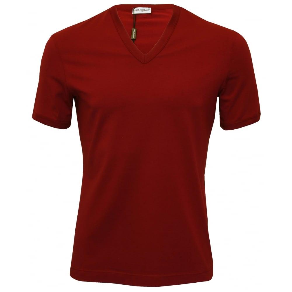 Dolce Gabbana Deep V Neck Branded T Shirt Burgundy Red