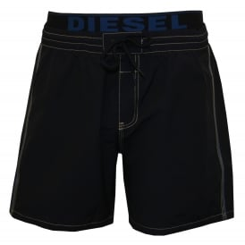 Mid-Length Swim Shorts with Double-waistband, Blue/Navy