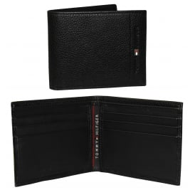 Mini Credit Card Textured Leather Wallet, Black