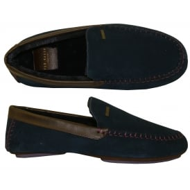 Moriss 2 Suede Moccasin Slippers, Dark Blue