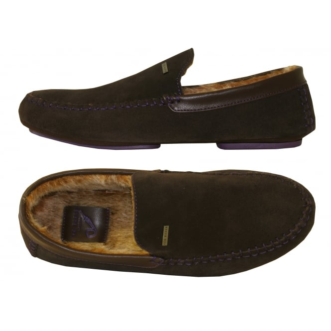 Ted Baker Moriss Suede Moccasin Slippers, Brown