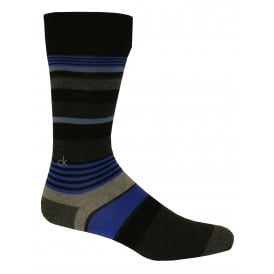 Multi-stripe Logo Socks, Black / Liquid Blue