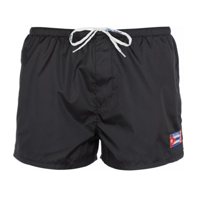 Oiler & Boiler New England Parachute Fabric Swim Shorts, Jet Black