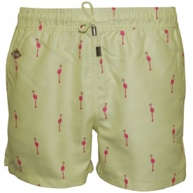 Flamingo Swim Shorts, Lemon