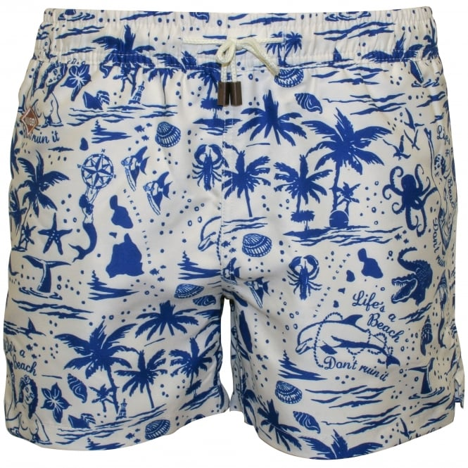 Nikben Life's a Beach Swim Shorts, Navy/White