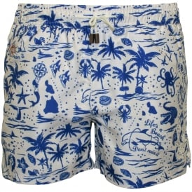 Life's a Beach Swim Shorts, Navy/White