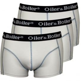 3-Pack Plains Boxer Trunks, White with navy contrast