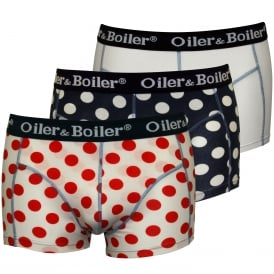 3-Pack Polka Dot Boxer Trunks, White/Navy