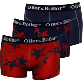 3-Pack Rough Star Boxer Trunks, Burgundy/Navy
