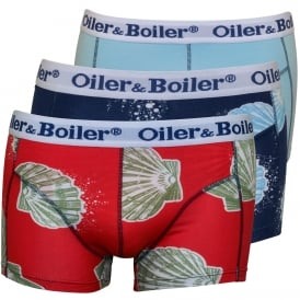 3-Pack Sea Shells Boxer Trunks, Navy/Blue/Red