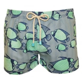 Chevy Short Angel Fish Print Swim Shorts, Green/Blue