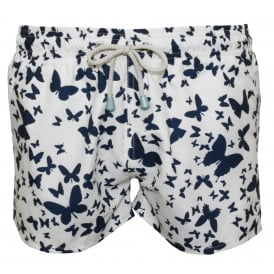 Chevy Short Butterfly Print Swim Shorts, White/Navy