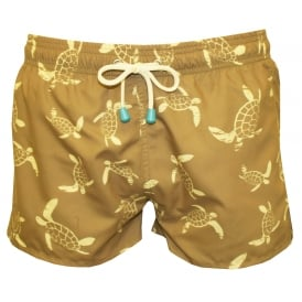 Chevy Short Turtle Print Swim Shorts, Khaki/lemon