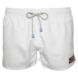 Freshman Shortie Vintage Swim Shorts, White/blue