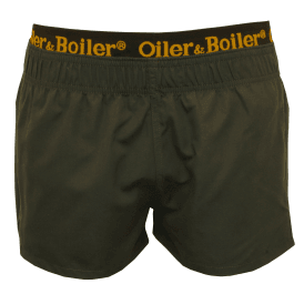 Limited Edition Double Waistband Swim Shorts, Charcoal Black/gold