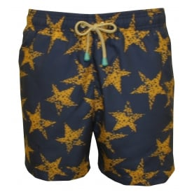 Old Skool Rough Star Gold Swim Shorts, Navy with gold