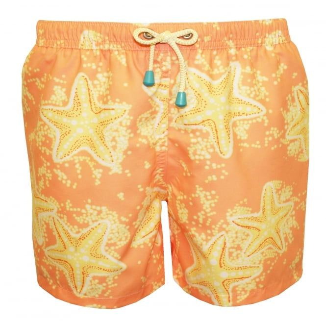 Oiler & Boiler Starfish Print Boys Swim Shorts, Peach/Lemon