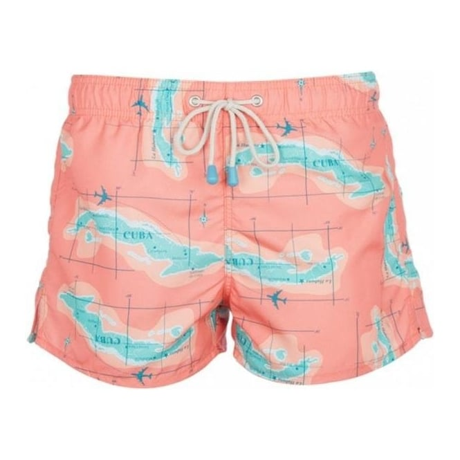 Oiler & Boiler Tuckernuck Shortie Swim Shorts Cuban Map Print, Coral