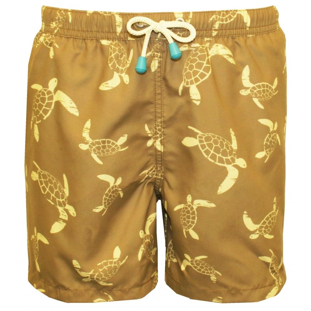 8c096b13afb2 Oiler & Boiler Turtle Print Boys Swim Shorts, Khaki/lemon | UnderU