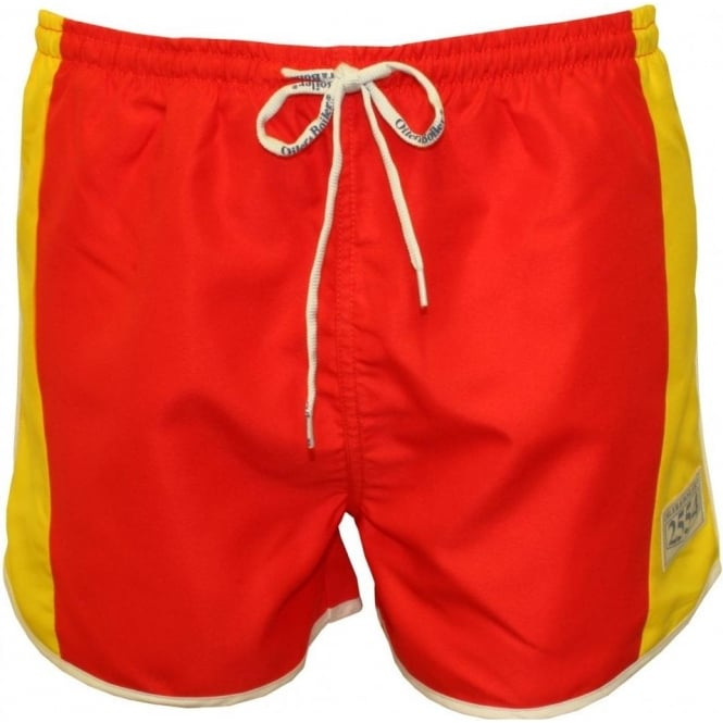 Oiler & Boiler West Coast Shortie Swim Shorts, Red/Yellow