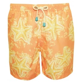 Old Skool Starfish Print Swim Shorts, Peach/lemon