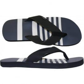 FTM Imprint Stripe Flip Flops, Carbon Blue