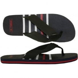 Imprint Stripe Flip Flops, Navy