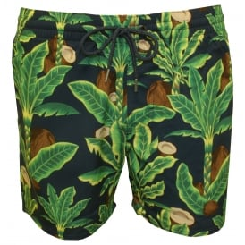 Venturer Coconut Trees Print Swim Shorts, Green/Blue