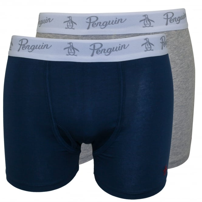 Original Penguin 2-Pack Keyhole Boxer Briefs, Blue/Heather Grey