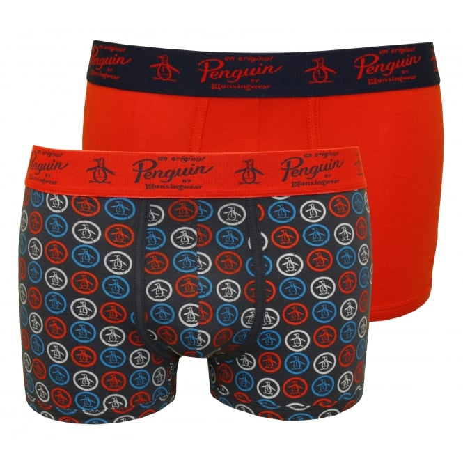 Original Penguin 2-Pack Solid & Penguins Boxer Trunks, Blue/Red