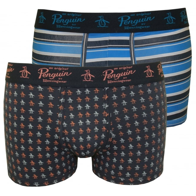 Original Penguin 2-Pack Stripes & Penguins Boxer Trunks, Blue/Navy