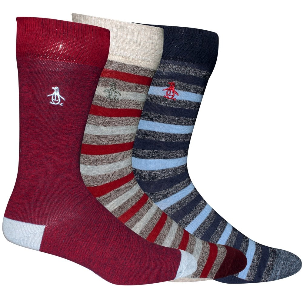 Mens Original Penguin Mens 3 Pack Sock Gift Set in Red Blue 7-11