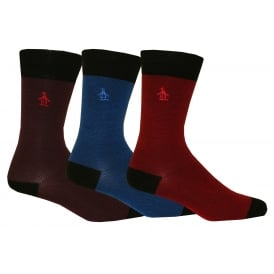 3-Pack Textured Socks, Blue/Burgundy/Purple
