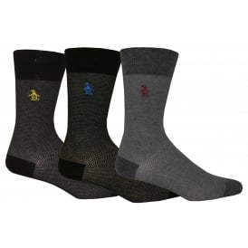 3-Pack Textured Socks, Blue/Grey Combination