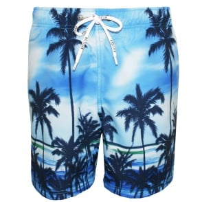 Palm Tree Swim Shorts, Vivid Blue
