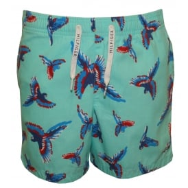 Parrots Print Boys Swim Shorts, Blue