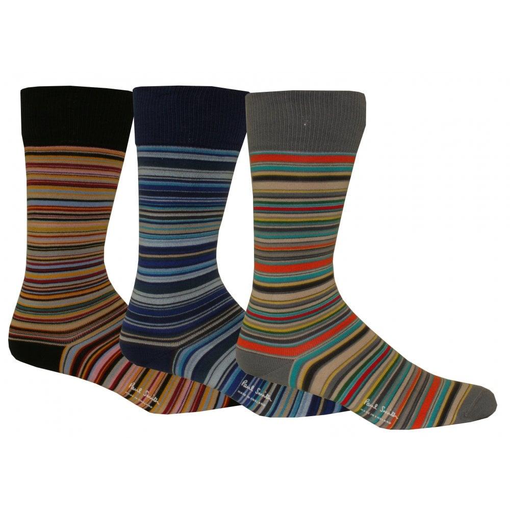 349f8d3fab 3-Pack Multi-Striped Socks, Blue/Black/Grey