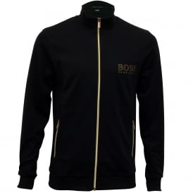 Pique Cotton Zip Tracksuit Jacket, Navy with gold