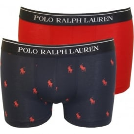2-Pack All Over Pony Player & Solid Boxer Trunks, Red/Navy