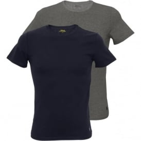 2-Pack Classic Jersey Crew-Neck T-Shirts, Navy/Heather Grey