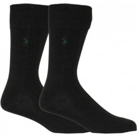 2-Pack Egyptian Cotton Ribbed Socks, Black