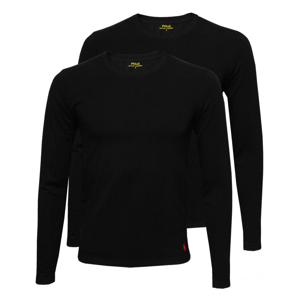 2-Pack Long-Sleeve Crew-Neck T-Shirts, Black with red
