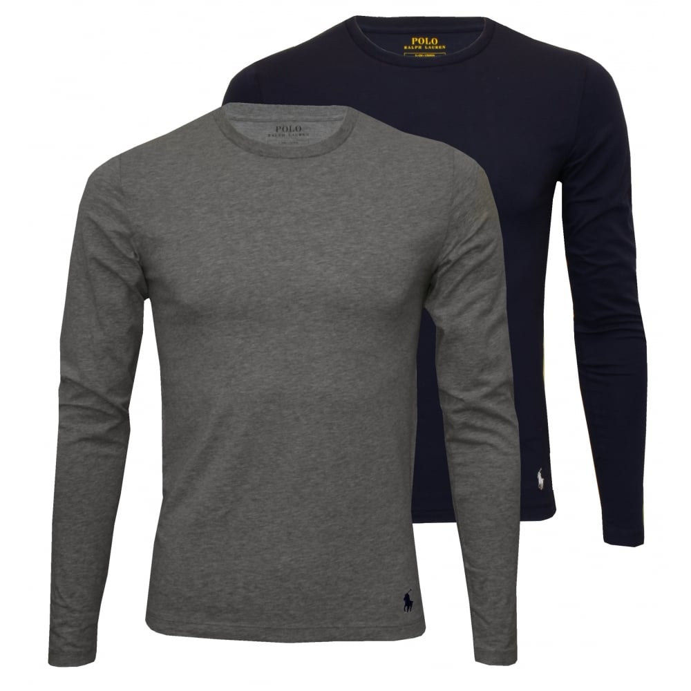 2-Pack Long-Sleeve Crew-Neck T-Shirts, Navy/Grey