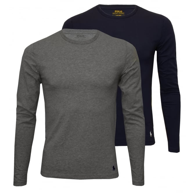 Polo Ralph Lauren 2-Pack Long-Sleeve Crew-Neck T-Shirts, Navy/Grey