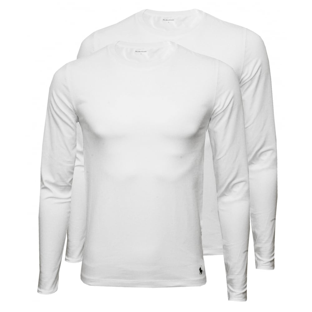 bcf21111 2-Pack Long-Sleeve Crew-Neck T-Shirts, White with navy